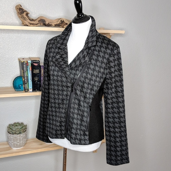 89th and Madison Jackets & Blazers - 89th and Madison Houndstooth Moto Jacket